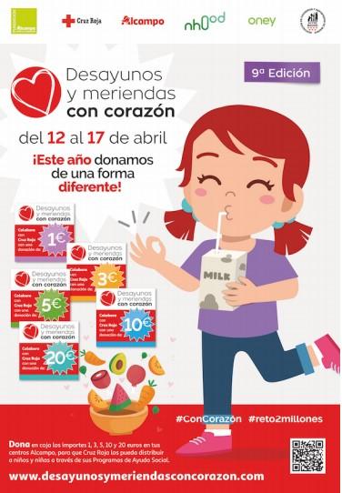 Desayunos y meriendas para niñas y niños atendidos por Cruz Roja