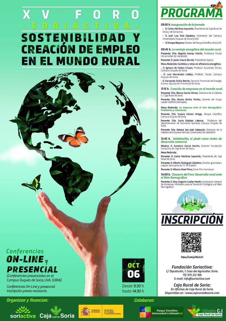XV FORO SORIACTIVA 2021 online/presencial sobre Sostenibilidad y Creación de Empleo en el Mundo Rural