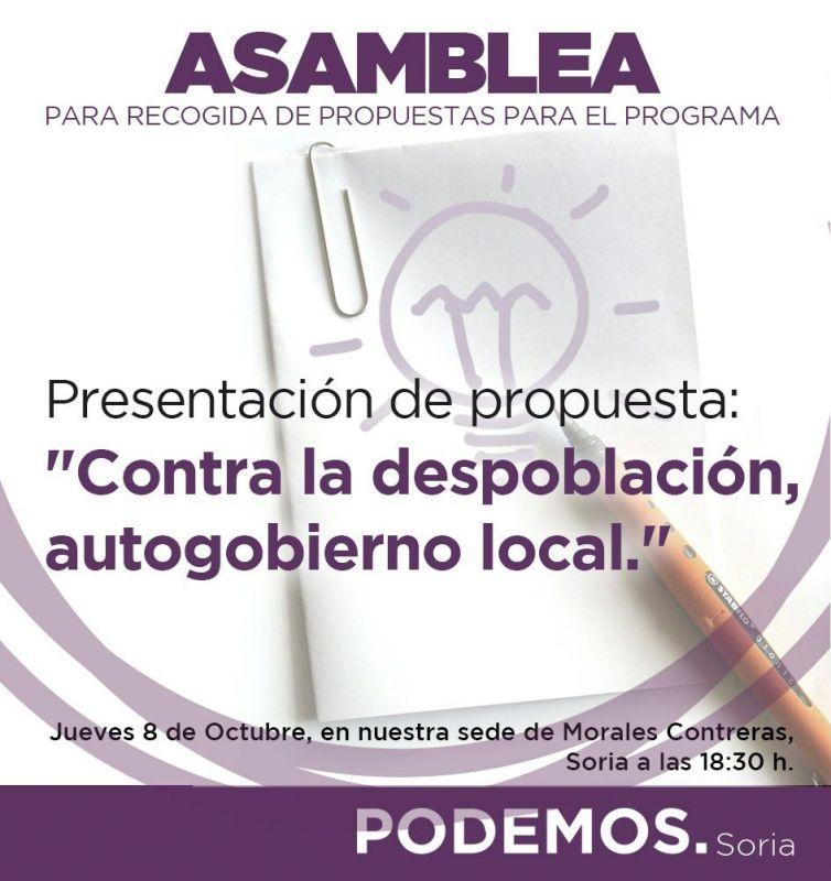 Podemos Soria: 'Asamblea para recogida de propuestas para el programa', esta tarde a las 18:30