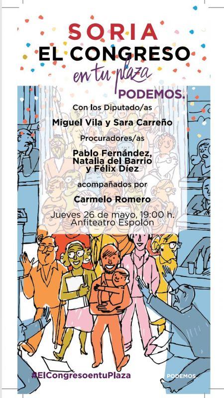 Podemos CyL: El próximo jueves 26 mayo tendremos en Soria a los Diputados Sara Carreño y Miguel Vila y a varios Procuradores de las Cortes de CyL.