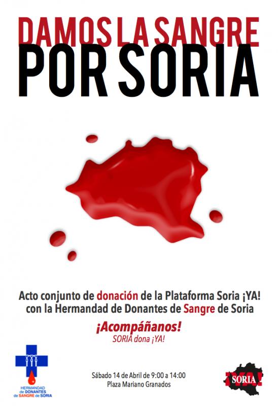 La Plataforma SoriaYA y la Hermandad de Donantes de Sangre realizarán mañana un acto de donación.