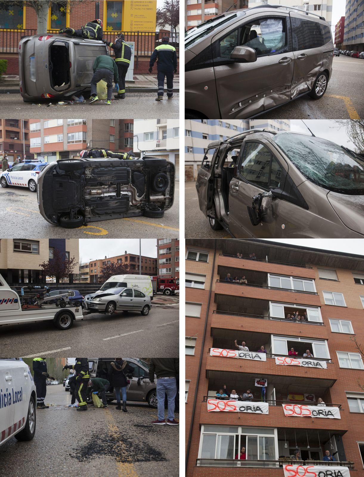 Aparatoso accidente sin heridos en la Avenida Valladolid.